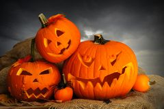 Halloween Jack o Lanterns. With dark cloud background Royalty Free Stock Image