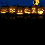 Halloween Jack O lanterns pumpkin night illustration Royalty Free Stock Images