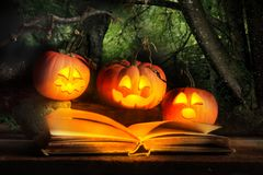 Halloween Jack-O-Lanterns Reading Scary Story. Three Halloween jack-o-lanterns reading scary story from old book with dark forest in background stock photography