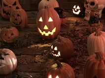 Halloween Jack O lanterns and skulls stock photo