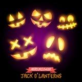 Halloween Jack O Lanterns. Various pumpkin halloween faces. Vector illustration Royalty Free Stock Photography