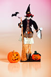 Halloween Jack O Lanterns and Witch Stock Photography
