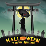 Halloween japan two face geisha ghost in graveyard Stock Image