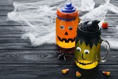 Halloween jelly in glass jars