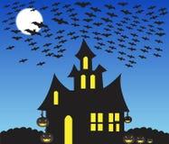 halloween jest nawiedzone domową scenę royalty ilustracja