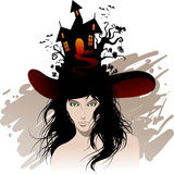 Halloween jest wiedźma piękna Zdjęcia Royalty Free
