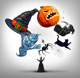 Halloween Juggling witch. As a sorcerer using symbols of a fall celebration as a hat spiders spiderweb and black cat also a pumpkin jack o lantern with 3D Stock Photos
