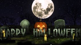 Halloween jumping pumpkin. Jack the lantern jumps over the `Happy Halloween`sign! In the background, a big moon and scary trees. The inscription jumps and stops stock video