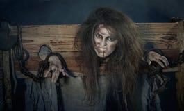 Halloween Juni 2013 – Zeit- und Epochenfestival im Kolomenskoye Hexenzeichen ein Urteilsspruch des Inquisit Lizenzfreie Stockbilder