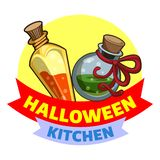 Halloween-Küchenlogo, Karikaturart vektor abbildung
