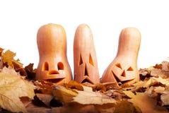 Halloween-Kürbis auf dem Herbstlaub lokalisiert auf weißem Hintergrund Lizenzfreie Stockfotografie