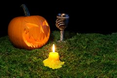 Halloween-Kürbis, -becher und -kerzen, die in die Dunkelheit auf einem f glühen Stockbilder