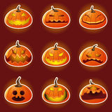 Halloween-Kürbis-Charakter Emoticon-Ikonen Lizenzfreie Stockfotos
