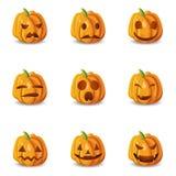 Halloween-Kürbis Emoticons eingestellt stock abbildung