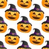 Halloween-Kürbis-Hexen-Hut nahtlos Stockbilder