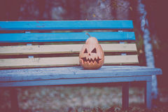 Halloween Kürbis liegt auf einer Bank Lizenzfreies Stockfoto