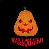 Halloween-Kürbis lokalisiert auf schwarzem Hintergrund Stockfotografie