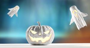 Halloween-Kürbis mit Geister 3d-illustration Halloween backgrou lizenzfreie abbildung