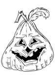 Halloween-Kürbis mit Gesicht Stockfotos