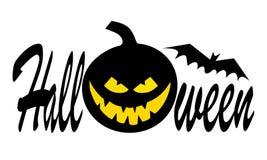 Halloween-Kürbis mit glücklichem Gesicht auf dunklem Hintergrund mit Text Der kleine Junge unzufrieden gemacht lizenzfreies stockfoto
