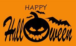 Halloween-Kürbis mit glücklichem Gesicht auf orange Hintergrund mit Text Der kleine Junge unzufrieden gemacht stockbilder