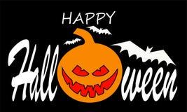 Halloween-Kürbis mit glücklichem Gesicht und rotes Lächeln auf orange Hintergrund mit Text Der kleine Junge unzufrieden gemacht stockfoto