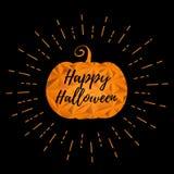 Halloween-Kürbis mit Grußtextillustration lizenzfreie stockbilder