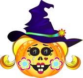 Halloween-Kürbis mit Hut Lizenzfreie Stockfotos