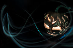 Halloween-Kürbis mit Kerze nach innen Lizenzfreies Stockbild