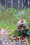 Halloween-Kürbis mit Rauche im Wald Stockbild
