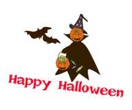 Halloween-Kürbis mit Süßigkeits-Korb mit Wort glückliches Halloween Stockfoto