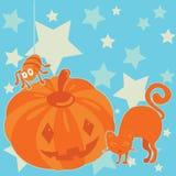 Halloween-Kürbis mit Spinne und Katze Stockfotos