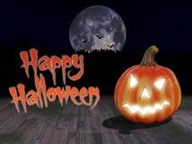 Halloween-Kürbis mit Vollmond lizenzfreie stockfotos