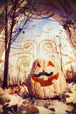 Halloween-Kürbis nahe dem Tor Stockbilder