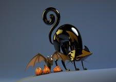 Halloween-Kürbis-Schläger und schwarze Katze Lizenzfreie Stockbilder