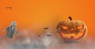 Halloween-Kürbis und Geist und Nebel 3d-illustration lizenzfreie abbildung