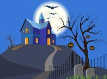 Halloween-Kürbis und Haus. Vektor. EPS8. Lizenzfreie Stockfotografie