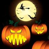 Halloween-Kürbis und Hexe, gespenstisch, Baum, Schläger im Mondnächtlichen himmel Stockbilder