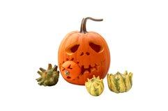 Halloween-Kürbis und Kürbisse Stockfoto
