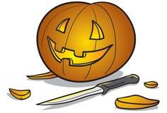 Halloween-Kürbis und Messer Lizenzfreie Stockfotos