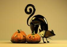 Halloween-Kürbis und schwarze Katze Lizenzfreie Stockfotos