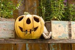 Halloween-Kürbis verziert lizenzfreie stockfotos