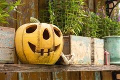 Halloween-Kürbis verziert stockbild