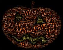 Halloween-Kürbis-Wort-Tag-Cloud auf einem schwarzen Hintergrund lizenzfreies stockbild