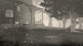 Halloween-Kürbise auf dem Portal des düsteren Hauses stock footage