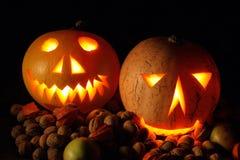 Halloween-Kürbise in der Nacht Stockbild