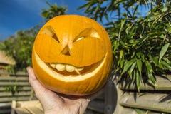 Halloween-Kürbise, die im Garten schnitzen Stockbild
