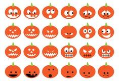 Halloween-Kürbise eingestellt von den Ikonen Stockfotos