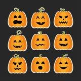 Halloween-Kürbise flache stikers eingestellt lizenzfreie abbildung