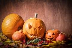 Halloween-Kürbise, geschnitzte Steckfassung-Olaterne im Fall verlässt Lizenzfreie Stockbilder